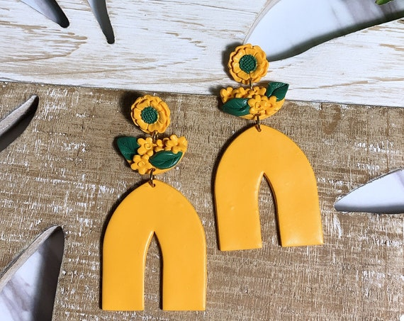 Shanelle  Sunflower Yellow Floral Top  Arch  Neutral Large Statement Earrings Clay Jewelry minimalist flowers