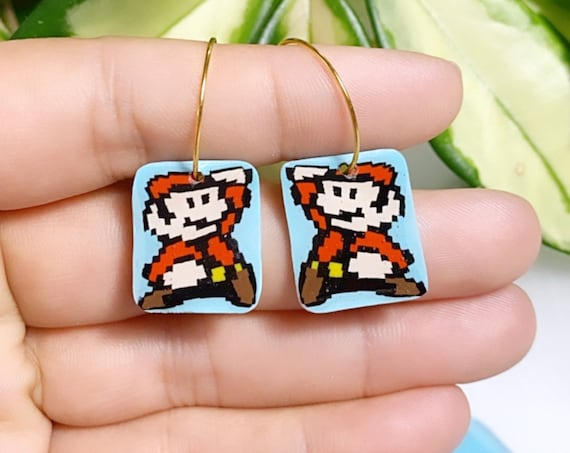 Super Mario Inspired Statement Earrings 8 bit Gamer Retro Polymer Clay Resin dangle Hoops Super Size Small hoops