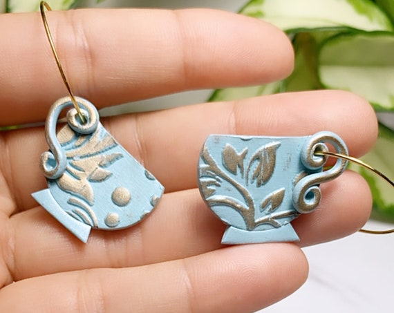 Wonderland Tea Time Inspired Statement Earrings Polymer Clay vintage dangle tea cup Hoops Alice whimsical clip ons