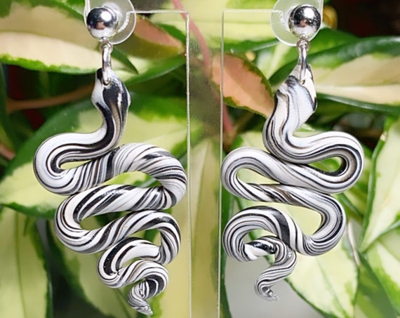 Jungle Slithereens Statement Earrings Silver serpent snake Python Black white