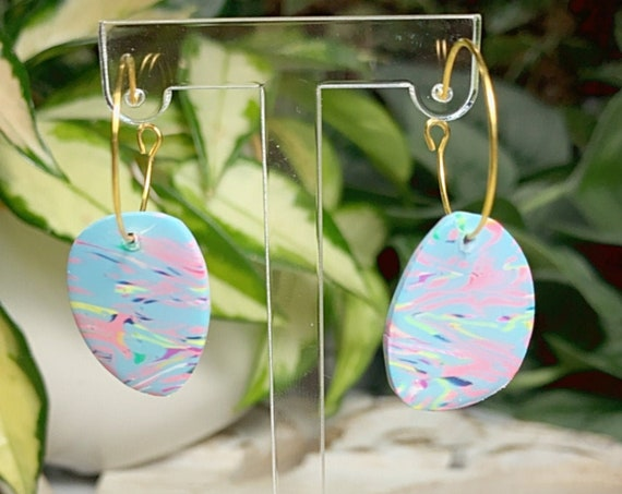 Toucan Dreams Limited Edition Abstract Marbled Resin Coated  Statement Earrings Green pink neon Gold Yellow blue floral flower  multicolored