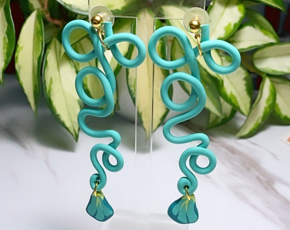 Spring Fling Love Coral Teal and gold Statement Earrings Large Dangles floral petal