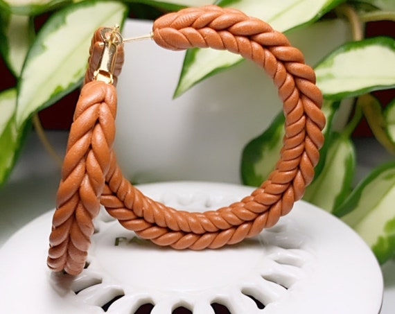 Rope Braid hoops extra Large Statement Cognac rust  terra cotta Earrings Fall  Clay hoops olive green