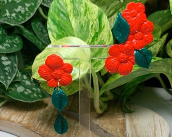 Floral asymmetrical  Ear Climber Ear Cuff Flower leaf Statement Earrings Tropical stud post clip ons unique