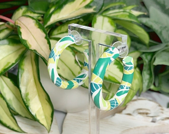 Garden Hoops Small Statement Earrings  Green White  Cane Leaf Pattern Modern Clay