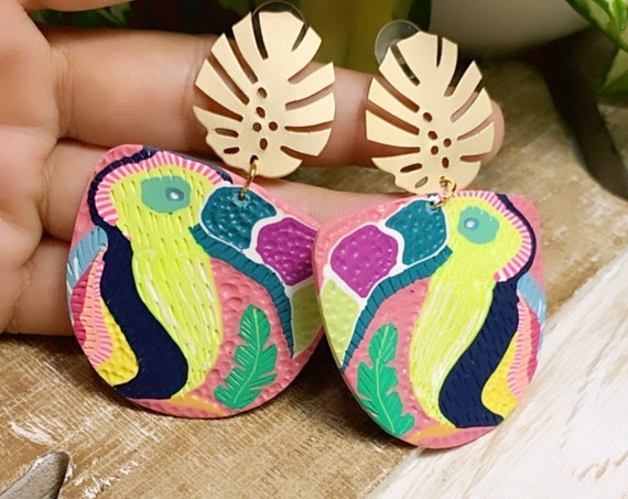 Toucan Dreams Limited Edition Jungle Boggie Statement Earrings Gold monstera leaf multicolored tropical Large Dangles