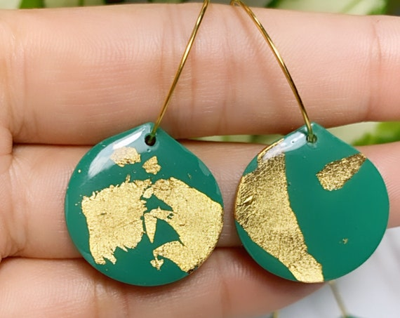 Emerald w/ Gold Foil collection Statement Earrings Small  Dangles Hoop chic lightweight jewelry drop dainty elegant polymer clay Resin