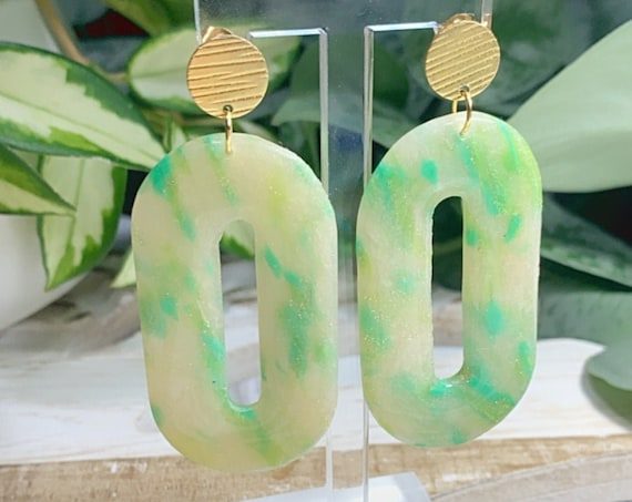 Monstera Painted Glass  Statement Earrings  Green Translucent  Resin Coated