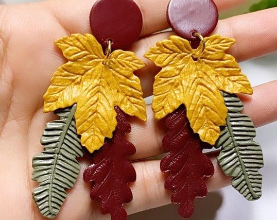 Autumn Maple Leaf Triple Threat Gold Olive Green Orange Burgundy maroon wine Statement Earrings Fall Leaves Clay hoops hooks clip ons dangle