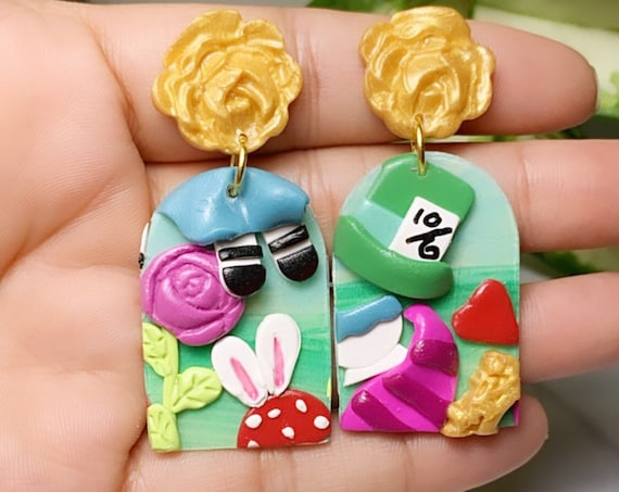 Wonderland Inspired Statement Earrings Polymer Clay dangle water color paint rose Hoops Alice whimsical clip ons