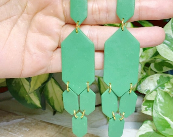 Olive Moroccan Chandelier Statement Earring gold