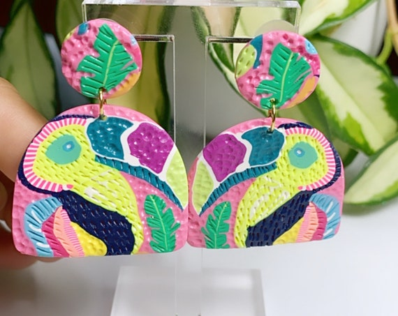 Toucan Dreams Limited Edition  Statement Earrings Green pink neon Gold Yellow blue  floral flower leaf multicolored