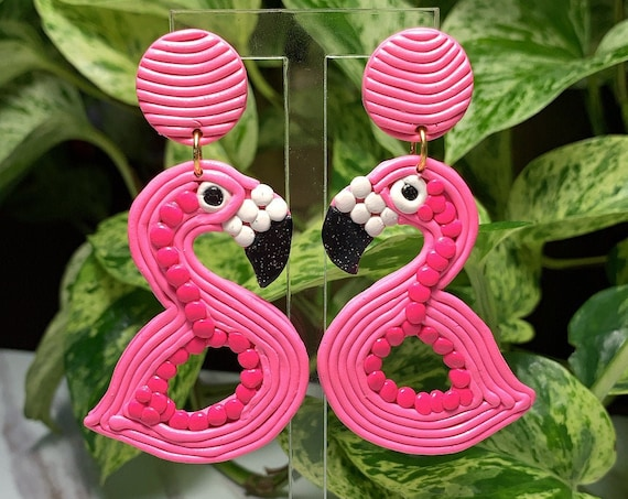 Fun Pop Flamingo Floaty Statement Earrings Pink Hot Pink White Glitter Black  Gold hoops  Made to order