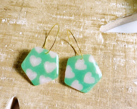 Spring Fling Preppy Hearts  Arch Dangle Pink Green gold Statement Earrings