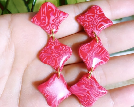 Marbled Red Pink Moroccan  Drops Statement Earrings Resin Coated