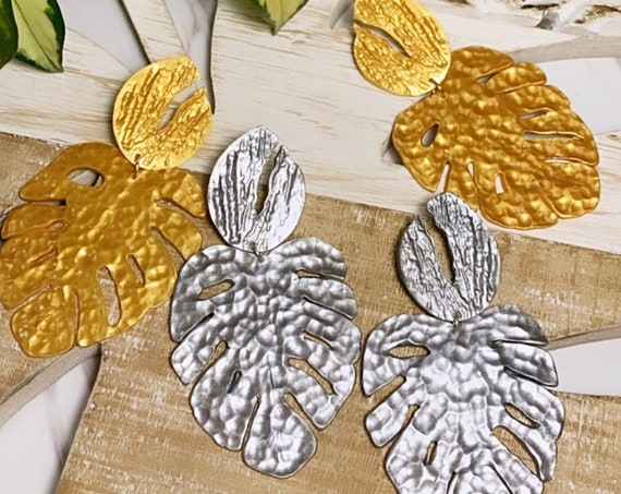 Hammered Monstera  XL Statement Earrings Metallic Gold  Silver   leaf statement
