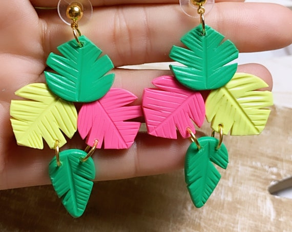 Paradise  Palm Statement Earrings Green pink neon Gold  leaf multicolored