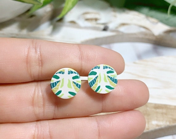 Garden Studs Small Statement Earrings  Green White  Cane Leaf Pattern Modern Clay