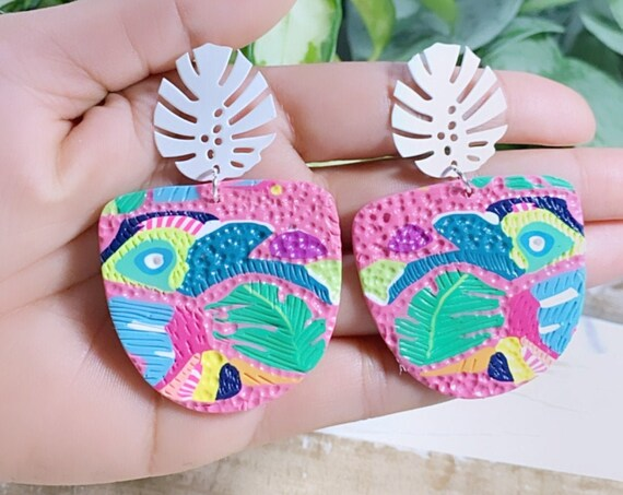 Toucan Dreams Limited Edition Abstract Textured Jungle Boggie Statement Earrings Gold monstera leaf multicolored tropical Large Dangles