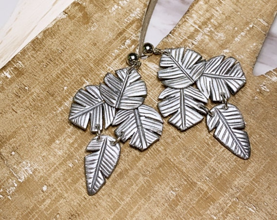 Paradise  Palm Statement Earrings Metallic Silver   leaf statement