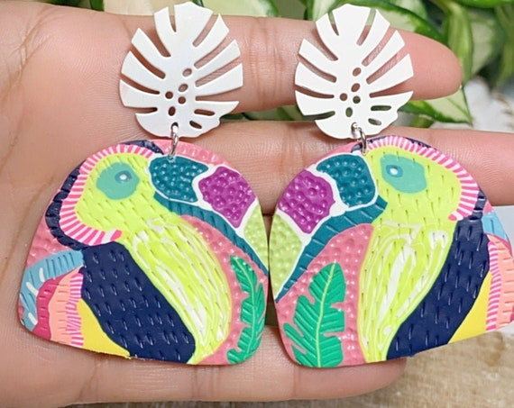 Toucan Dreams Limited Edition  Textured Jungle Boggie Statement Earrings Gold monstera leaf multicolored tropical Large Dangles