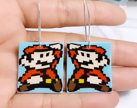 Super Mario Inspired Statement Earrings 8 bit Gamer Retro Polymer Clay Resin dangle Hoops Super Size Medium hooks hoops