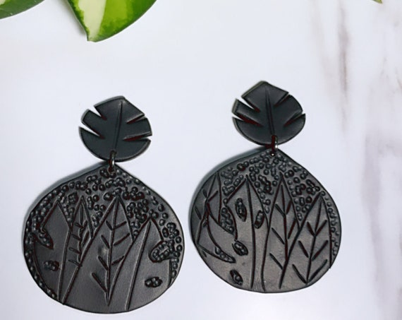 Shadow Collection Statement Earrings stud dangle made to order Custom plants plant lady bold unique ooak