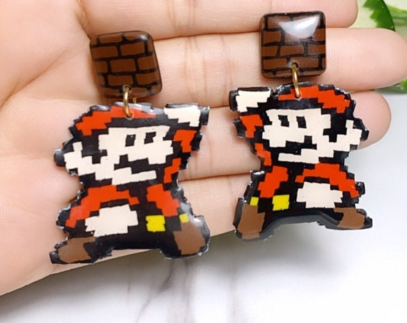 Super Mario Inspired Statement Earrings 8 bit Gamer Retro Polymer Clay Resin dangle Hoops Size Large Brick Cut Out