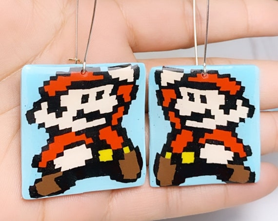 Super Mario Inspired Statement Earrings 8 bit Gamer Retro Polymer Clay Resin dangle Hoops Size Large