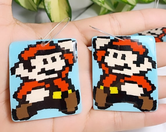 Super Mario Inspired Statement Earrings 8 bit Gamer Retro Polymer Clay Resin dangle Hoops Super Size XL Trimmed