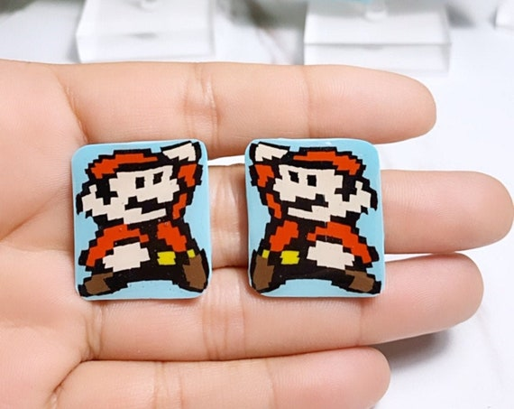Super Mario Inspired Statement Earrings 8 bit Gamer Retro Polymer Clay Resin dangle Hoops Super Size Medium Studs