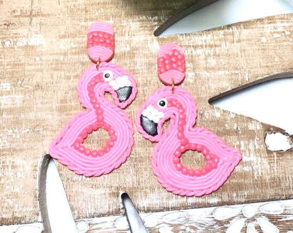 Fun Pop Trimmed Flamingo Floaty Statement Earrings Pink Hot Pink White Glitter Black  Gold hoops  Made to order