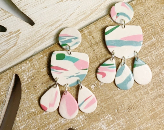Marbled Moroccan Tile Drops Floral Tile Design Statement Earrings Pink Teal Green White Sky Blue