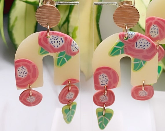 Spring Fling Arch Dangle rose Coral Blue white Green Leaf and gold Statement Earrings Large floral petal
