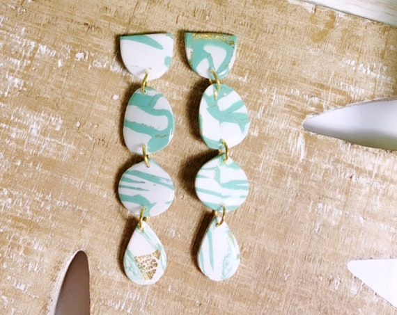 Marbled Garden  Statement Earrings Teal White Gold foil Resin Coated