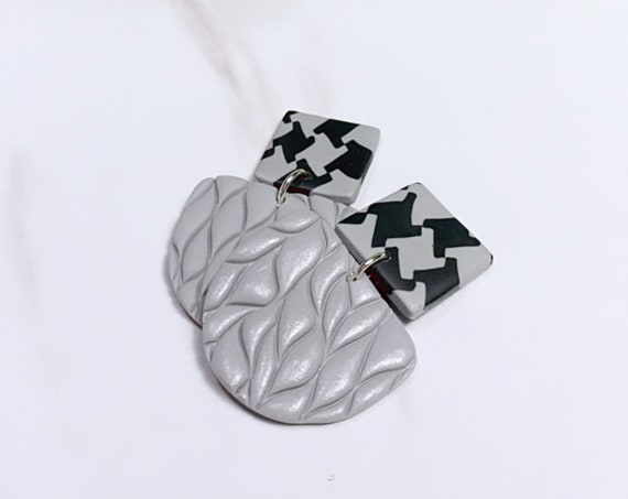 Not So Plain Jane Collection Gold Houndstooth grey black minimalist  stud  Statement Earrings Clay Jewelry