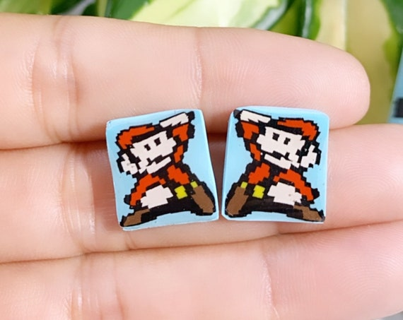 Super Mario Inspired Statement Earrings 8 bit Gamer Retro Polymer Clay Resin dangle Hoops Super Size Extra Small Studs