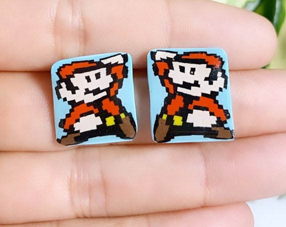 Super Mario Inspired Statement Earrings 8 bit Gamer Retro Polymer Clay Resin dangle Hoops Super Size Small Studs