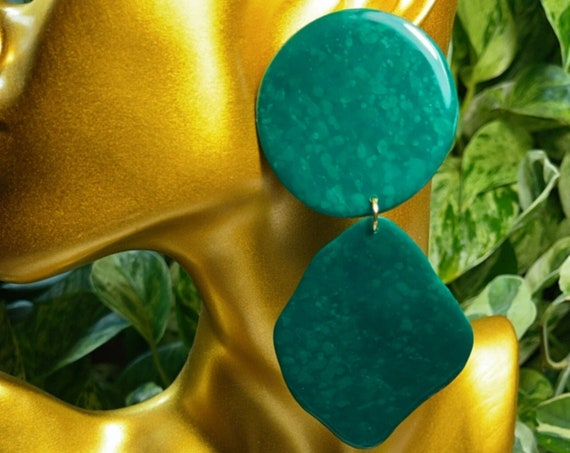Emerald Green Dream Collection Oversized Mega Statement Earrings Clay Jewelry Lightweight Unique Vintage Look