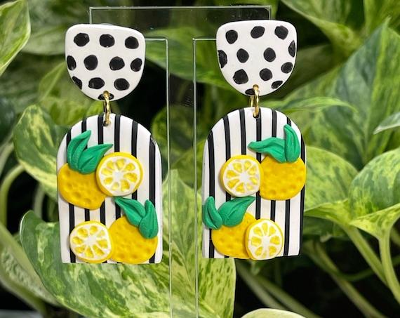 Slice Of Life Lemon Statement Earrings gold yellow green black white stripes