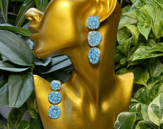 Turquoise  Kingman Spiderweb Dream Collection Oversized Mega Statement Earrings Clay Jewelry Lightweight Unique Vintage Look