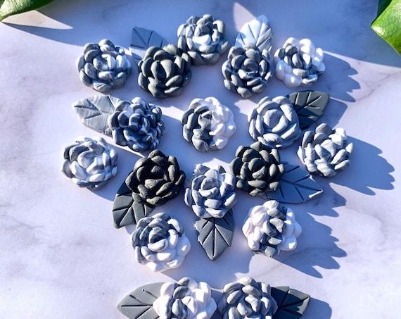 Succulent Lapel Pin Mens Wedding Custom Colors Bridal  Clay Flower Groomsmen Groom