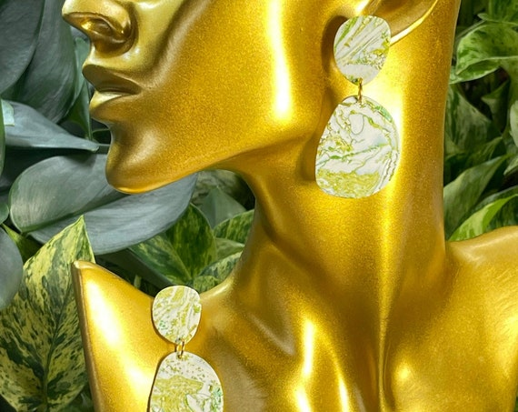 Stone Cold Lime Collection Dangle Stud Statement Earrings Clay Jewelry Lightweight Stone look and  feel