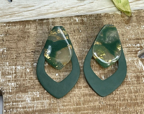 Young Hunter Green Gold Faux Stone minimalist modern large stud Statement Earrings Clay