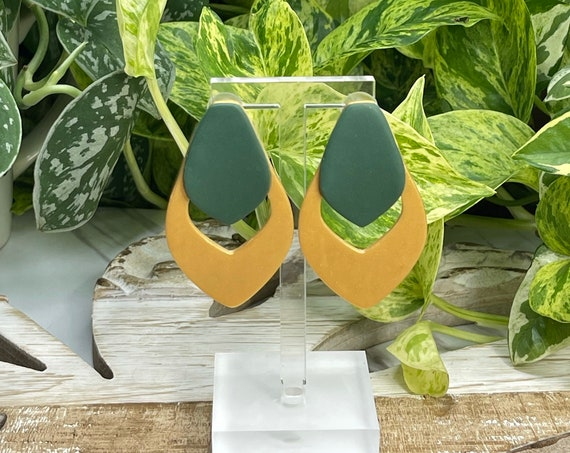 Young Hunter Green Gold light minimalist modern large stud Statement Earrings Clay