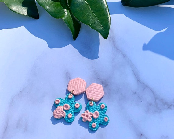 Vintage Chic Pink Coral Aqua Statement Earrings  Clay Jewelry Flowers Hearts
