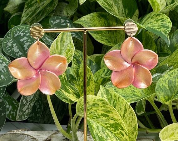 Palm Beach Tropical Plumeria Flower hoop Floral Statement Earrings Clay Studs Dangles white yellow pink orange
