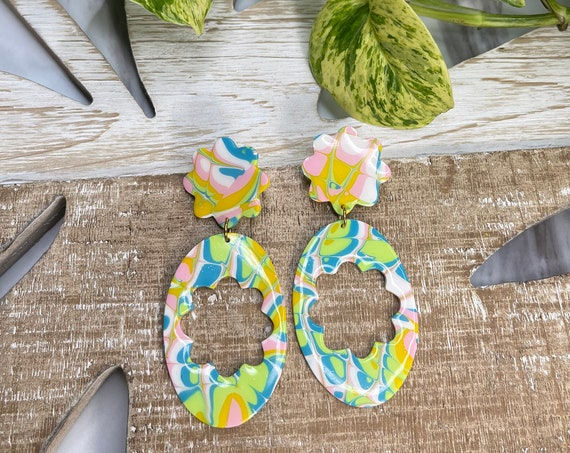 Flower Child Summer Collection Limited Edition 70s Vibes Statement Earrings Clay Jewelry Lightweight Unique Tie Dye BLUE and White