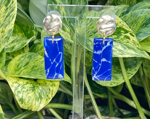 Lapis Lazuli Dream Collection Oversized Bar gold Statement Earrings Clay Jewelry Lightweight Faux Gemstone