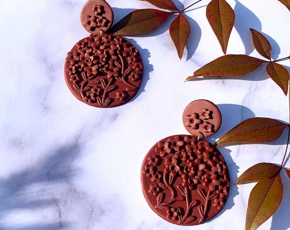 Aubrey in Maroon Burgundy Wine Statement Earrings Clay Wearable Art